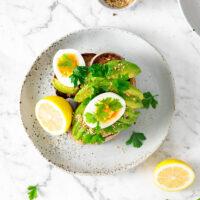 smashed avocado toast with almond sukkah | curatedlifestudio.com