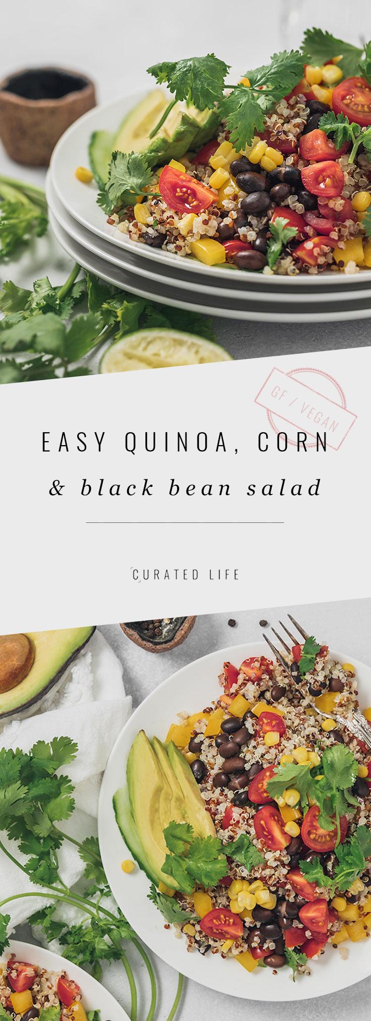 Pinterest Header - Quinoa, Corn & Black Bean Salad with Avocado  #quinoa #recipes #avocado #mexican #southwestern #healthy #easy